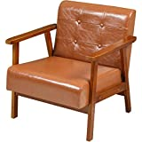 EPHEX Mid Century Retro Modern Accent Armchair, PU Leather Wooden Lounge Chair, Single Sofa Chair for Living Room Bedroom Office