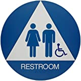 Brady California/ADA Restroom Sign, Legend 'Restroom' - Plastic, White on Blue, 12' Diameter - 106184