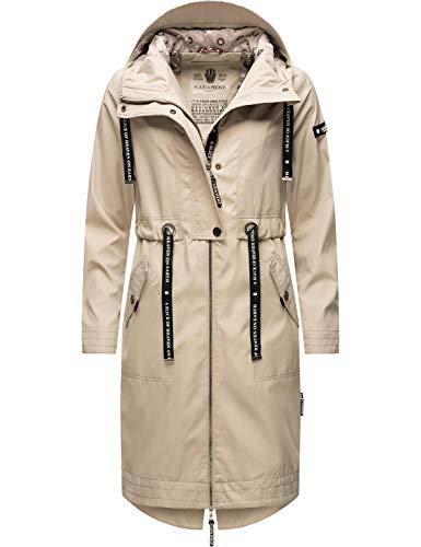 Navahoo Damen Parka leicht Übergangs-Jacke mit Kapuze Josinaa Light Grey Gr. M