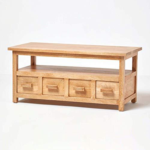 HOMESCAPES Solid Mango Wood Coffee Table cum TV Unit Oak Shade Mangat Living Room Furniture 110 x 50 x 50 cm