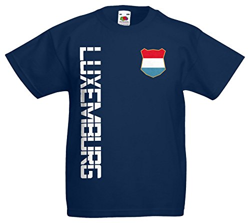 Luxemburg Kinder-Shirt Name Nummer Trikot EM-2021 Navyblau 116