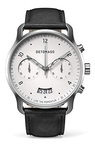 DETOMASO SORPASSO Cronografo Silver White Orologio da polso da uomo analogico al quarzo cinturino in pelle italiana nero
