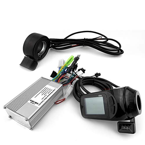 L-faster Electric Scooter Brushless Controller with S886 Thumb Throttle LCD Panel Electric Bike Hub Motor Controller LCD Thumb (24V Witch EBS)