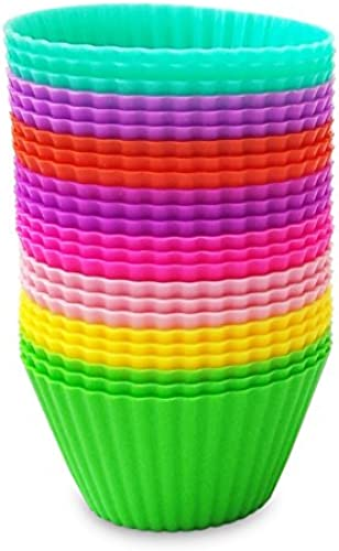 DeLuxe Silicone Baking Cups - 100% Heat, Stain & Odor Resistant - 24 Non-Sticky Cupcake Liners + Bonus Ebook by VMV Products