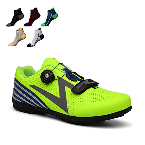UYBAG Lightweight MTB Cycling Shoes Breathable Mens Road Bike Shoes with 5 Pairs Sports Socks and Reflective Stripes Best Gift for Family and Friends,Green,44