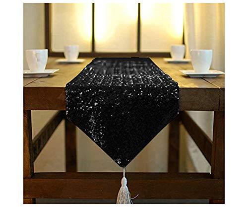 ShinyBeauty Chemins de table doré, à paillettes, chemin de table de fête, décorations de mariage, à sequins, 30,5x 182,9cm, Noir , 12x72-Inch