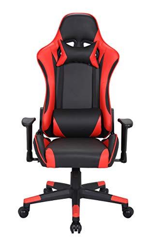 Goldenberg Gaming Stuhl Bürostuhl Racing Stuhl Gamer Ergonomischer Stuhl Einstellbare Armlehne 145° schwenkbarer Gamingstuhl mit Lordosenstütze und Nackenstützkissen