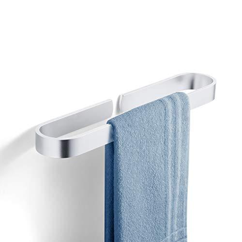 YOOKEA Handtuchhalter Bad, Handtuchhalter Ohne Bohren, 180° Drehung Edelstahl Handtuchhalterung Wand (40 cm (Silber))