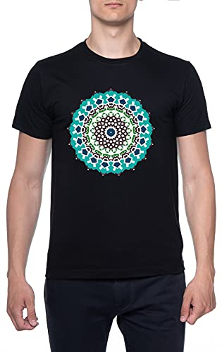 Multi Color Floral Mandala Negro Hombre Camiseta Mangas Cortas Tamaño XL Mens T-Shirt Black Size XL