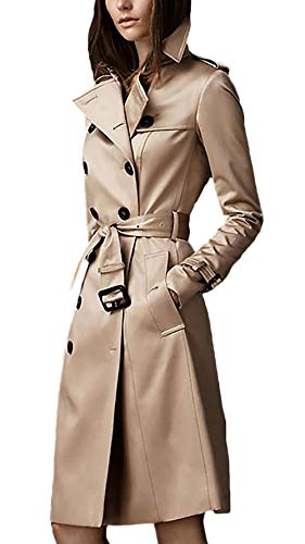 Gabardina Mujer Largos Fashion Classic Doble Botonadura Abrigos Primavera Otoño Manga Larga De Solapa Slim Fit Ropa Vintage Elegantes Negocios Outerwear Chaqueta con Cinturón