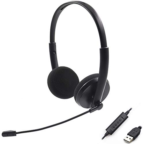 VRK USB Headset Computer,Headset PC Gaming Headset mit Mikrofon für Laptop PC, USB Kabel Stereo Kopfhörer mit Lautstärkeregler für Call Center/Büro/Telefonkonferenzen/Online Kurs Chat usw