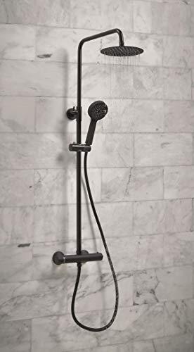 Ducha termostática negra con elevador rígido y desviador redondo