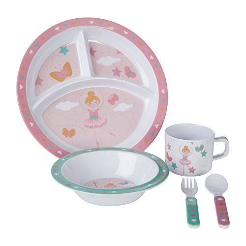 Premier Housewares Mimo Kids Bella Ballerina 1206329 Service de table 5 pièces en mélamine Multicolore 11 x 32 x 29 cm