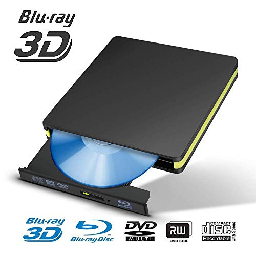 KuWFi externe blu-rayspeler, BD-RE DVD-type brander speler Bluray USB 3.0 Bluray DVD +/- RW DVD-RAM voor Mac OS laptop, Windows 7 8 10, PC