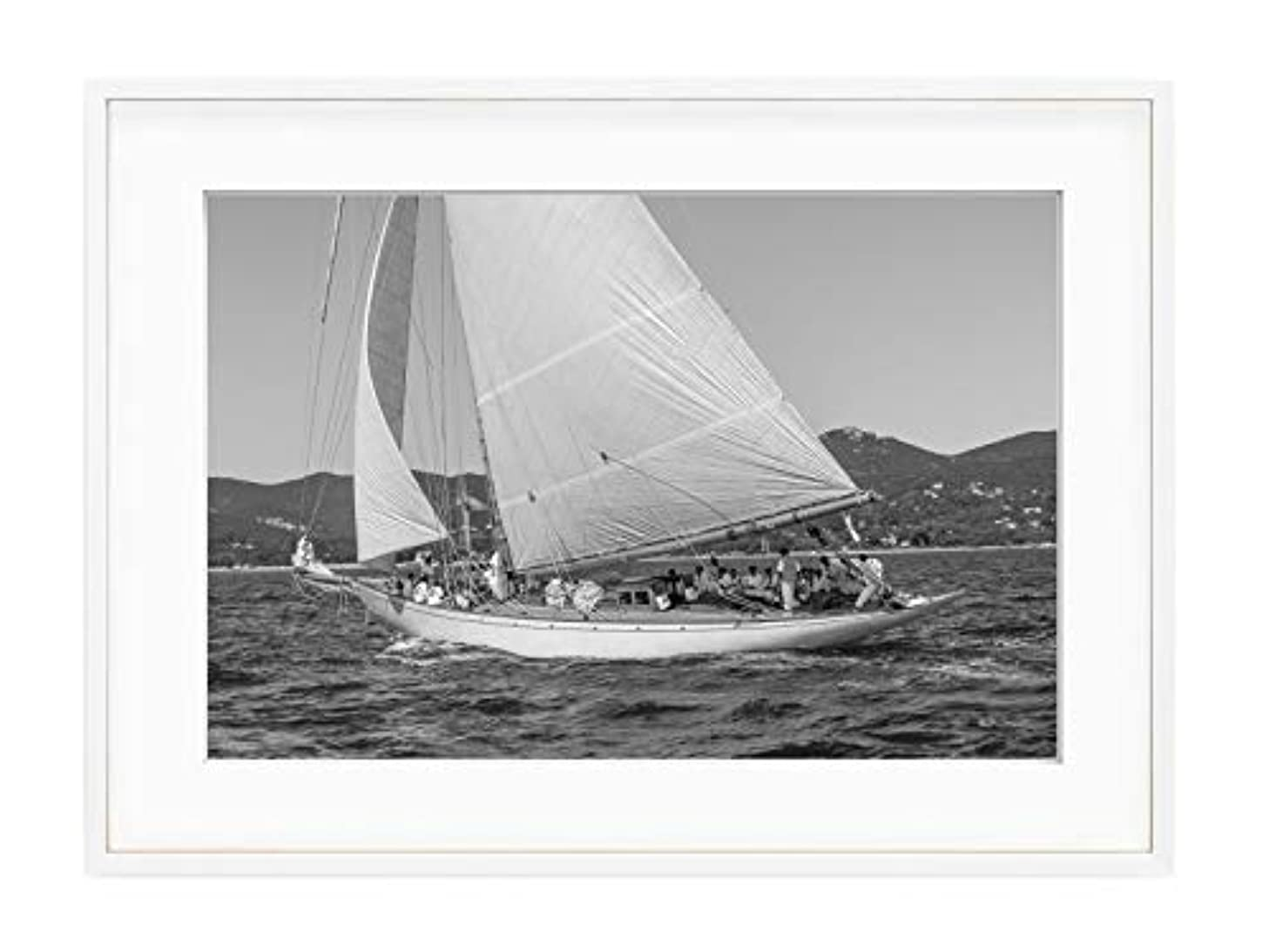 Solid Oak Sailing Boat, Natural Frame, with Mount, Multicolored, 40x50
