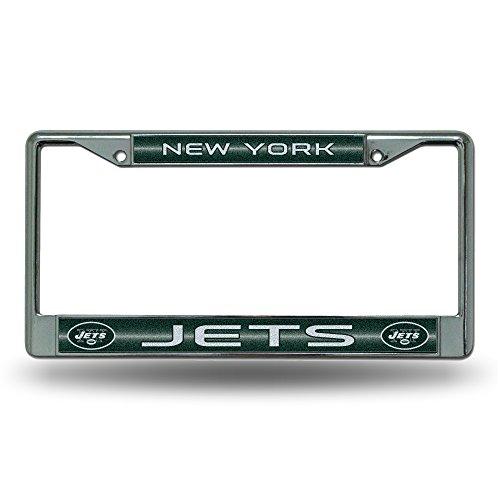 NFL New York Jets Bling Chrome License Plate Frame with Glitter Accent