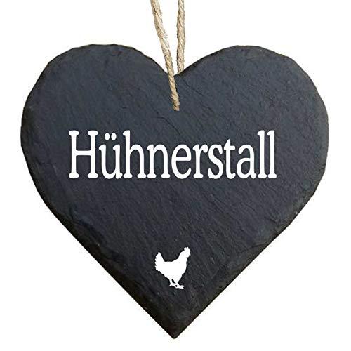 Homeyourself Herz Schieferherz Schiefer Schieferschild 10 x 10 cm Hühnerstall schwarz Dekoschild Wandschild Schild Stein Geschenk