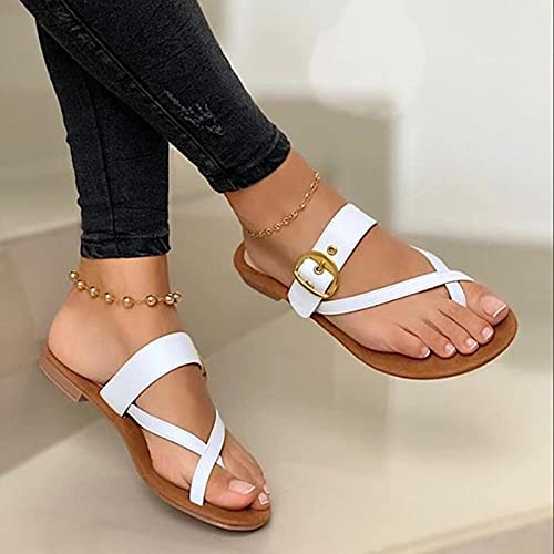 Sandalias de Flip-Flop para Mujer Cómoda Descalzo Peep Toe Sandalias de Verano Sandalias de Cuero Casuales,c,35