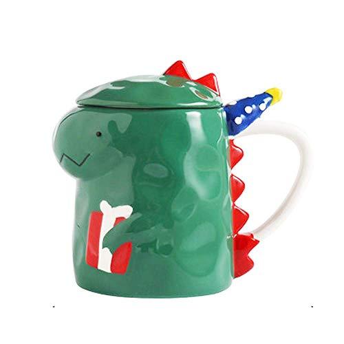 Lsmaa Kaffeetasse Nette Dinosaurier-Becher Keramik-Tee-Schalen-Neuheit Animal Boys Becher mit Deckel for Geburtstag Weihnachten Mädchen Männer-Frauen-Geschenk