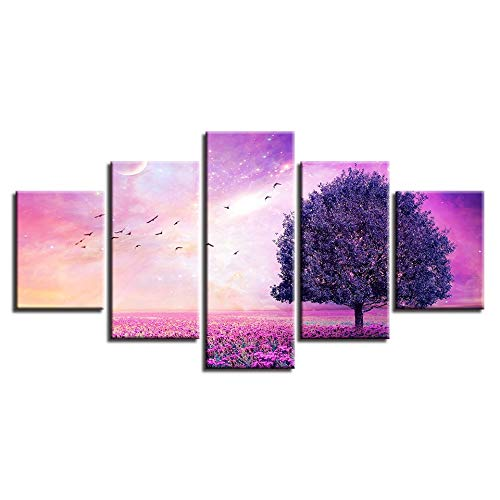 Gdlkss Canvas Picture - 5 Piece - 5 Part Panels - Flower tree bird scenery For Home Modern Decoration Print Decor - 150x80cm