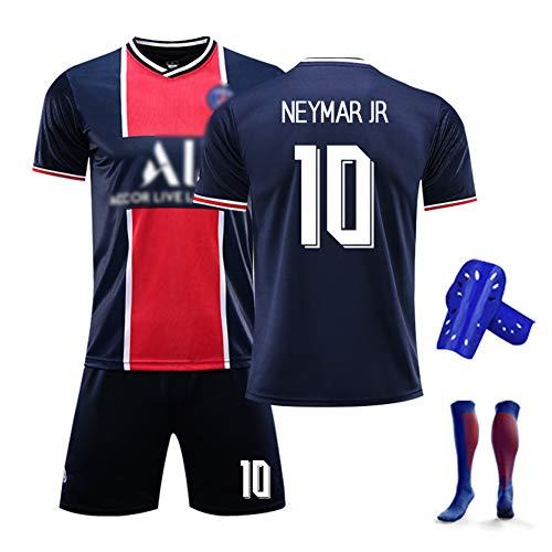 Kids Soccer Jersey Kits T-Shirt, Nr. 10 Neymar, 19-20 Gedenkausgabe der französischen Clubfans, Geschenke für Jungen-Fußballtrikots für Kinder, personalisierte Fußballausrüstung-RoyalblueB-24#