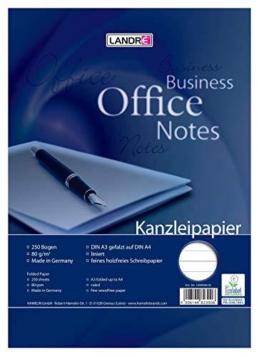 LANDRE 100050618 Kanzleipapier Office 250 Kanzleibogen liniert 80 g/m² holzfreies Papier - Ideal für Schule und Büro