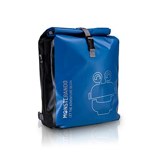 MONSTERANDO 3in1 Fahrradtasche - wasserdicht und reflektierend - als Gepäckträgertasche, Umhängetasche & Rucksack einsetzbar - ideale Gepäckträgertasche fürs Fahrrad - 25L-blau