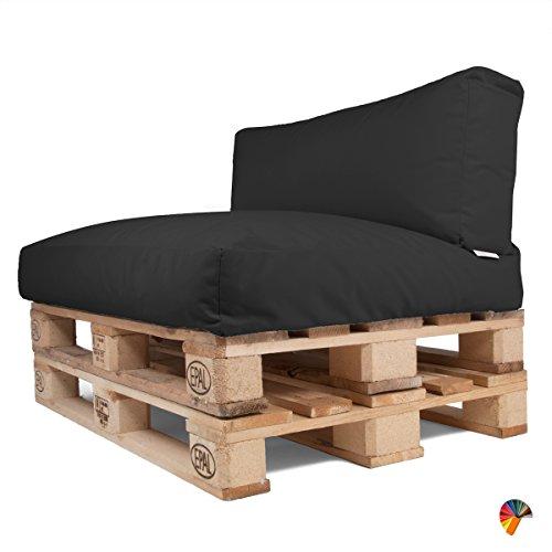 Arketicom Soft Set Cuscini Pallet BANCALI Morbidi da Esterno per arredo mobili divani da Giardino Salotto divanetto Pallet o bancale Cuscini arredo con Palline di polistirolo Tessuto Acrilico Nero