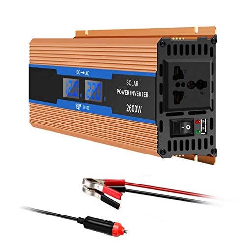 Inversor de corriente 12V, 24V a 240V 2600W Adaptador convertidor para computadora portátil para automóvil Transformador de fuente de alimentación solar con cargador USB y cable para encendedor de ci