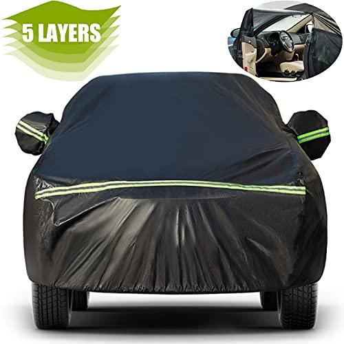 Favoto Telo Copriauto Impermeabile Telo per Auto da Esterno per Crossover/Full Size/ Mid-size SUV, con Zip Laterale, Resistente ad Acqua/Polvere/Neve/Sole/Freddo, 505x195x170cm, Nero