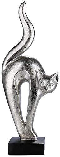 Moderne sculptuur decoratieve figuur kat Luxor gemaakt van kunststeen zwart/zilver hoogte 32,5 cm breedte 12,5 cm
