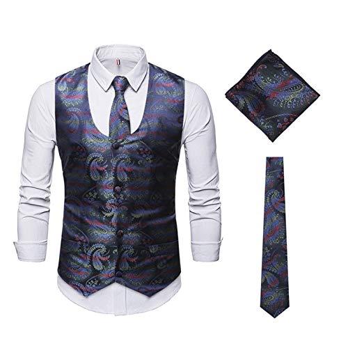 Chaleco de Hombre Traje Formal Chaleco de Paisley y Corbata Conjunto de Gemelos Cuadrados de Bolsillo Traje de Boda de Tres Piezas Chaleco con Corbata y Bufanda Cuadrada
