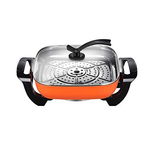 RMXMY Wok eléctrica doméstica Puede Revolver-fríe cocinar el arroz eléctrico Plug-in Pot de una Pieza pequeña Wok eléctrico Puede cocinar Sopa Wok eléctrico Wok 5L, 1400W, Naranja