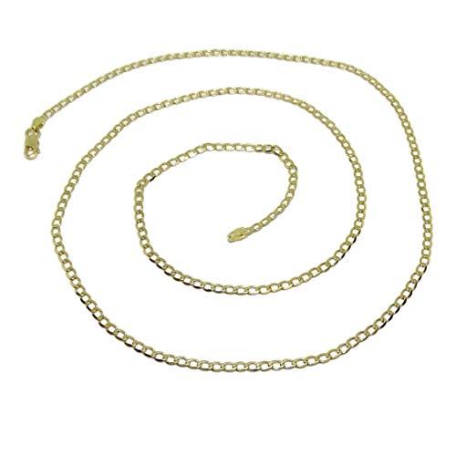 Never Say Never Collana in oro massiccio giallo da uomo da 18 carati, tipo barbazzale, piatta da 2,5 mm di larghezza e 60 cm di lunghezza. 6,05 g di oro 18 carati.