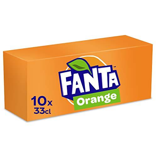 Fanta Orange, Super frische Limonade mit Orangengeschmack und Spaß-Garantie in coolen Dosen, 10 x 330 ml Dose, EINWEG
