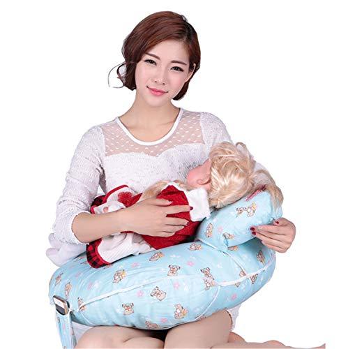 BABIFIS Almohada de Lactancia Multifuncional, Maternidad y cojín para bebé con Mini Almohada y arnés para bebé Gratis (Azul)