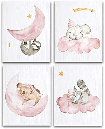 Sleeping Animals Art Prints Set of Four 8x10 Unframed Art Prints Great Gift and Decor for Nursery product image