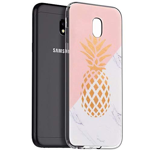 Zhuofan Plus Coque Samsung Galaxy J3 2017, Silicone Transparente avec Motif Design Antichoc Housse de Protection TPU 360 Bumper Souple Case Cover pour Samsung J3 2017 5 Pouces, Ananas en Marbre