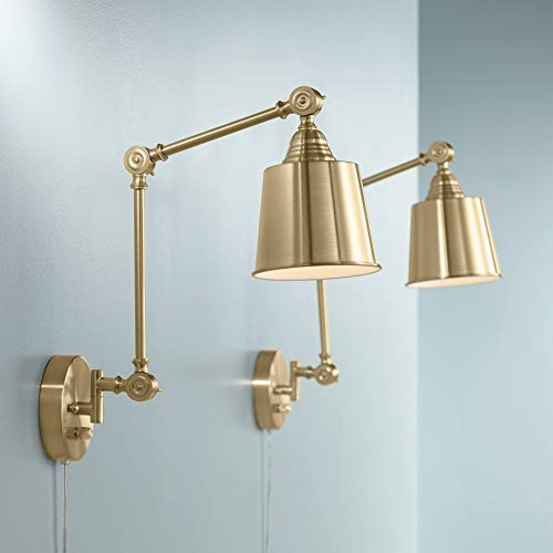 Mendes Modern Swing Arm Adjustable Wall Lamps Set of 2 Antique Brass Plug-in Light Fixture Up Down Metal Shade for Bedroom Bedside House Reading Living Room Home Hallway Dining - 360 Lighting