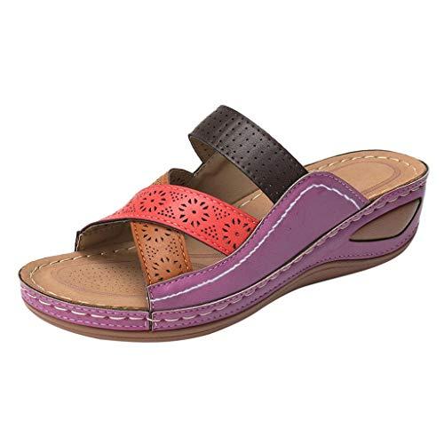 Sandalen Frauen Sommer Nähen Soft Beach Outdoor Urlaub Freizeitschuhe (38,Lila)