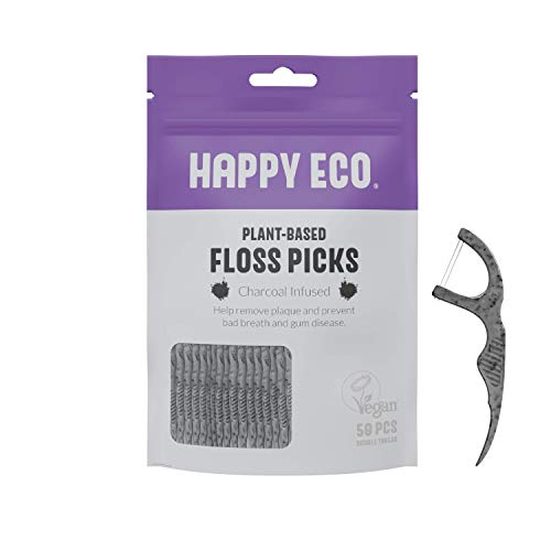 Natural Dental Floss Picks (200count) - BPA Free, Vegan, Sustainable Flossers for Eco-Friendly Teeth Cleaning- Pack of 4 (Charcoal, Double Thread)