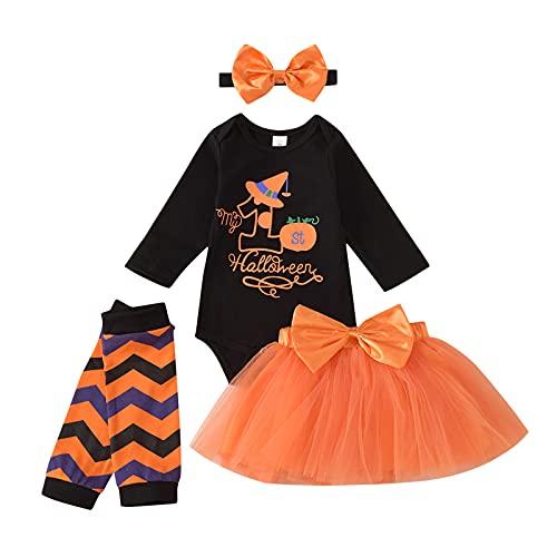 Camiseta de Manga Larga con Estampado de Letras para Bebé Niña Falda de Tutú de Halloween Diadema con Lazo Leggings de Rayas...