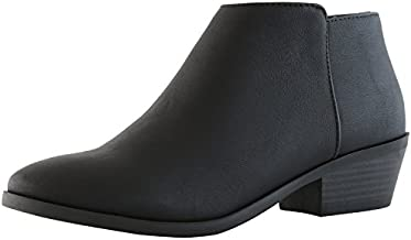 DailyShoes Chunky Heel Booties Ankle Boot Low Slip On Boots Sexy Short Winter Warm Party Dress Shoes Ultra Thick and Soft Lining Knot-01 Black Pu 9