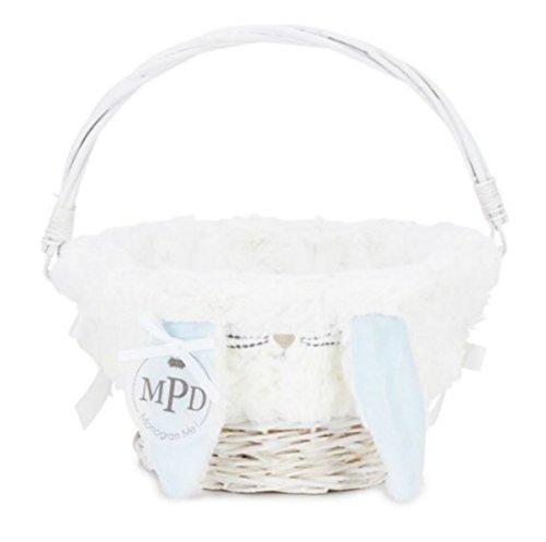 Mud Pie Easter Baby Boy Bunny Ear Wicker Basket 10.5in Dia 1602001B