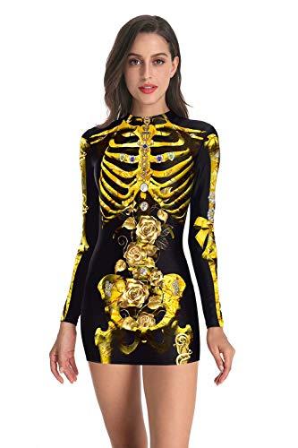U LOOK UGLY TODAY - Vestido Mono Sexy de Fiesta para Mujer, Traje de Disfraz para Carnaval,Halloween de Esqueleto, con Tacto Suave y Transpirable