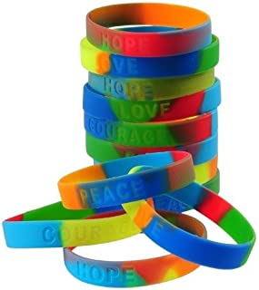 Assorted Sayings Rainbow Stretchy Rubber Band Bracelets (12)