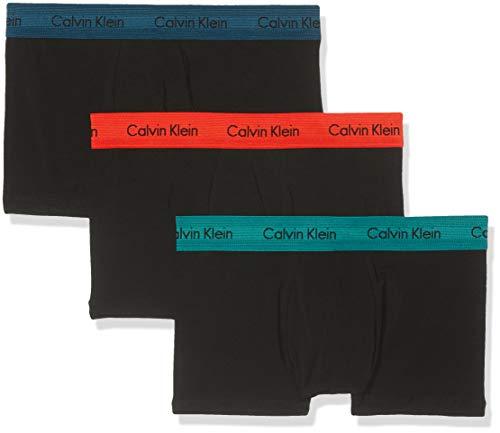 Calvin Klein Herren 3p Low Rise Trunk' Boxershorts, Schwarz (B-M Blue/B Red/Raleigh Wb Kkh), Large (3er Pack)