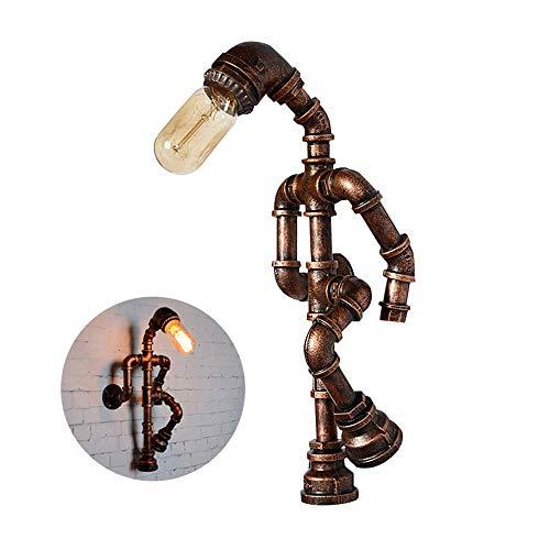 Wandlichter Roboter Dekorative Wandleuchte, Industrie Vintage-Wasser-Rohr-1-Light Plug-in Wand-Laterne-Leuchter, Wandleuchte-Befestigung, Wandhalterung Licht for Dining Hall Restaurant Bar Cafe Küche,