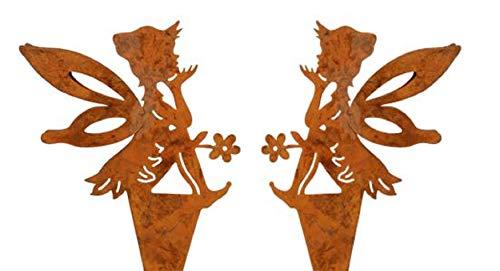 dekorativer Deko-Stecker Garten-Stecker Pick Elfe Fee Blumenkind Metall edelrost Preis für 2 Stück