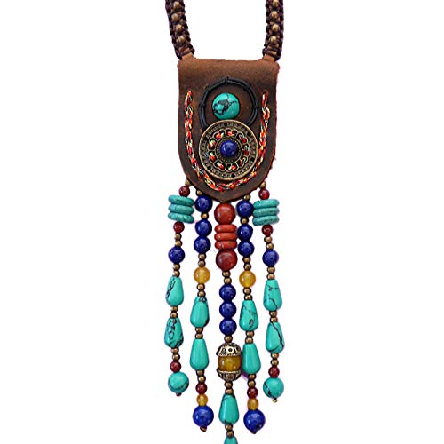 Boho Beaded necklaces for women Long Pendant Beads wood Necklaces for women beads Necklace wooden By DREMINOVA (Artistic Ethnic)